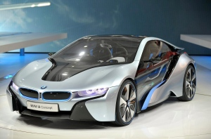 The BMW i8 concept is displayed at the North American International Auto Show in Detroit, Monday, Jan. 9, 2012. (AP Photo/Detroit News, Bryan Mitchell)