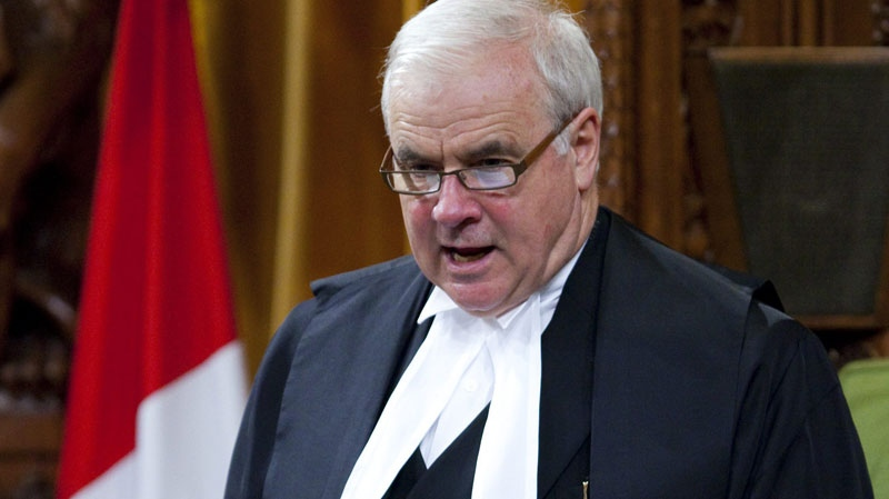Speaker of the House of Commons Peter Milliken stands in the House of Commons on Parliament Hill in Ottawa on Tuesday, June 15, 2010. (Sean Kilpatrick / THE CANADIAN PRESS)