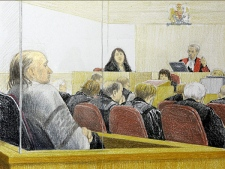 An artist's sketch shows Cynthia Cardinal, centre, sister of victim Georgina Papin, delivering her victim impact statement at the B.C. Supreme Court in New Westminster, B.C. Tuesday, December 11, 2007. (Jane Wolsak / THE CANADIAN PRESS)