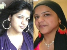 Aqsa Parvez is seen on the left without a hijab and on the right with a hijab. The teenager was allegedly killed over her over her choice not to wear traditional Muslim clothing.