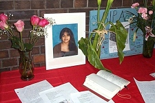 A memorial for Aqsa Parvez is set up at Applewood Heights S.S. in Mississauga, Ont. as seen in this image provided to CTV.ca by the Peel District School Board.