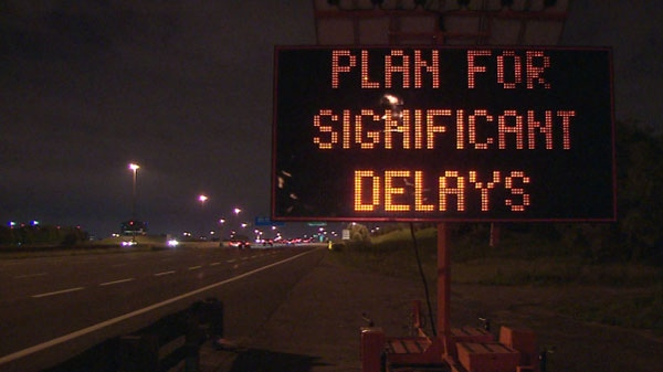 A sign warns drivers coming into the city on 400-series highways of traffic delays during the G20 conference in Toronto.