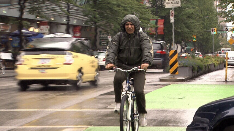 Vancouver cyclist on bike lane