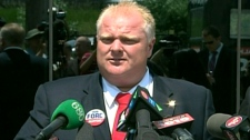 Toronto mayoral candidate Rob Ford speaks to reporters during a press conference, Thursday, June 14, 2010
