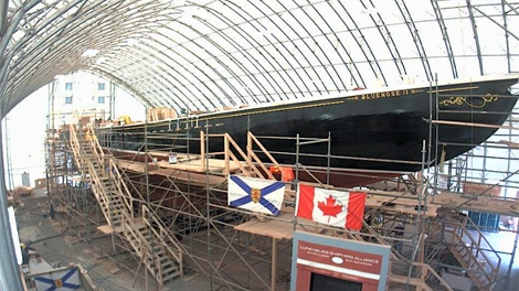 The Bluenose II undergoing a major rebuild at the Lunenburg Shipyard, in Lunenberg, N.S. (screenshot taken from novascotiawebcams.com)