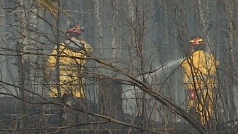 One of two fires near Bonnyville is still burning out of control Wednesday, May 16, 2012.