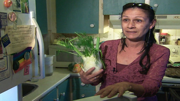 A woman, who lives on disability benefits, says she couldn't get by without a monthly hamper from the food bank.