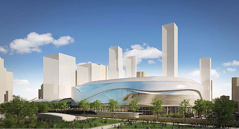 Exterior view of the proposed downtown arena from the north. Supplied. May 16.