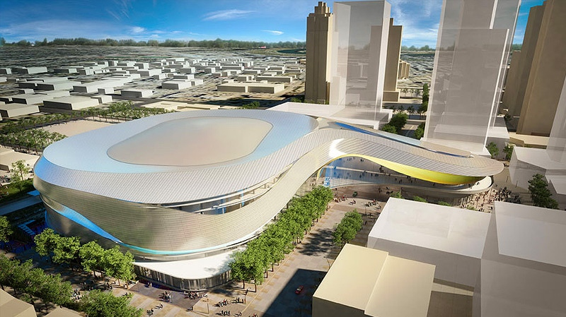 Inspired by the shape of an oil drop, an exterior aerial computer rendering of the proposed downtown arena looking northeast. Supplied