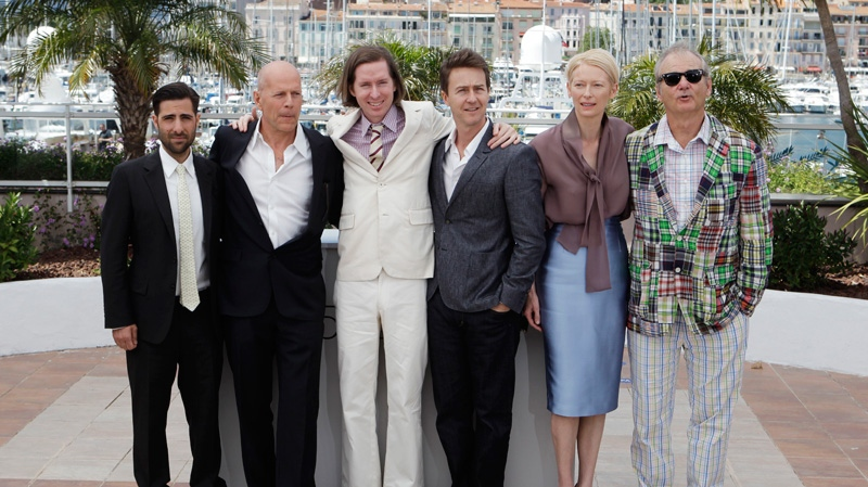 From left, actors Jason Schwartzman, Bruce Willis, director Wes Anderson, and actors Edward Norton, Tilda Swinton, and Bill Murray pose during a photo call for Moonrise Kingdom at the 65th international film festival, in Cannes, southern France, Wednesday, May 16, 2012. (AP / Lionel Cironneau)