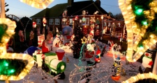 Christmas lights are displayed outside the home of Victor and Margaret Minter at Cottenham, England. (AP /Chris Radburn)