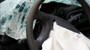 A deployed airbag is shown in this undated file photo.