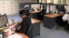 Office workers in their cubicles. (file)