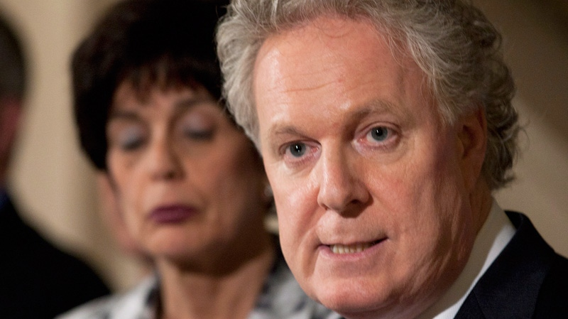 Quebec Premier Jean Charest announces a special legislation to allow students to go back to school at the legislature in Quebec City, Wednesday, May 16, 2012. (Jacques Boissinot / THE CANADIAN PRESS)