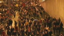 Thousands of protesters fill the streets during another a night of demonstrations in Montreal on Wednesday, May 16, 2012.
