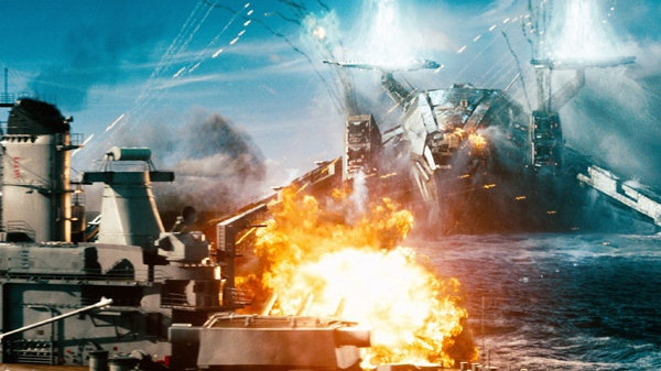 A naval ship is attacked by an invader in a scene from Universal Pictures Canada's 'Battleship.'