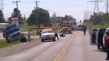 One person has been transported to hospital after a pedestrian was struck on Erbs Road in Wilmot Township on Thursday, May 17, 2012. (Photo Courtesy Telmo Ribeiro)