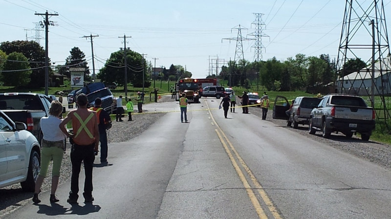 A pedestrian was struck on Erbs Road in front of Herrle's Country Farm Market in Wilmot Township on Thursday, May 17, 2012. (Johnny Mazza / CTV News)