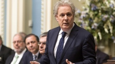 Quebec Premier Jean Charest speaks during a special debate on Quebec education law in Quebec City on Thursday, May 17, 2012. (Clement Allard / THE CANADIAN PRESS)