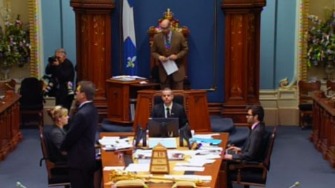 This photo taken from video shows political deliberations in Quebec City on Friday, May 18, 2012.