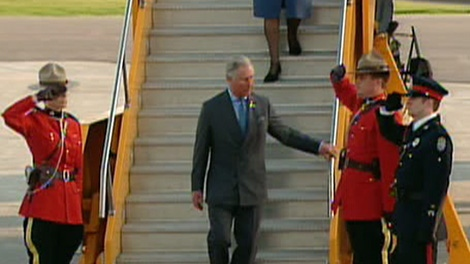Prince Charles and his wife Camilla arrive at the Fredericton International Airport in New Brunswick, Sunday, May 20, 2012.