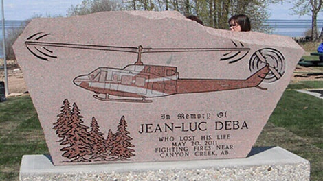 A permanent memorial was unveiled Sunday in memory of Jean-Luc Deba, who died fighting the Slave Lake wildfire. May 20.