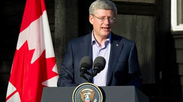 Prime Minister Stephen Harper delivers closing remarks at the G8 summit in Camp David, Md.,