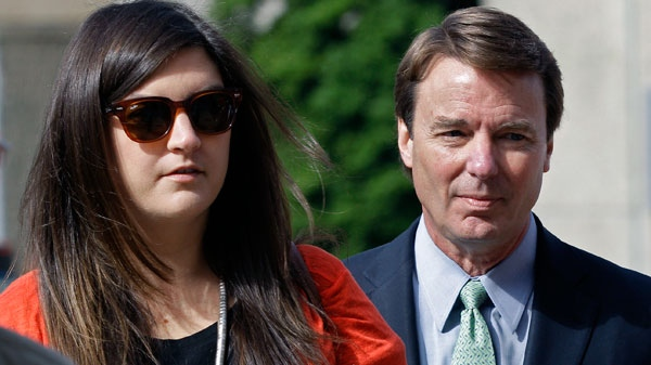 John Edwards arrives with his daughter Cate Edwards at the federal courthouse in Greensboro, N.C., for his trial on charges of campaign corruption Monday, May 21, 2012. (AP / Chuck Burton)
