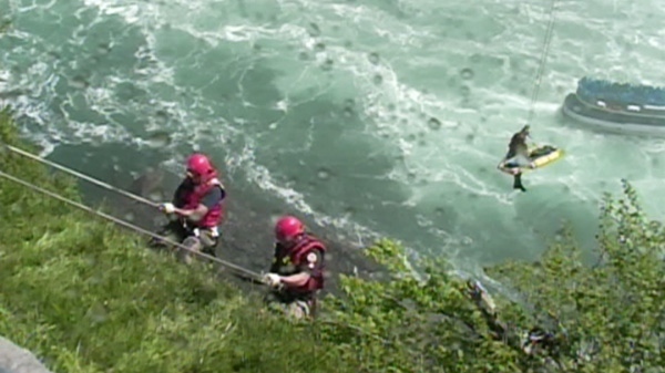 A rescue operation is underway at Niagara Falls on Monday, May 21, 2012.