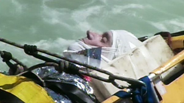 The man who plunged over the Canadian side of Niagara Falls is seen in this image.