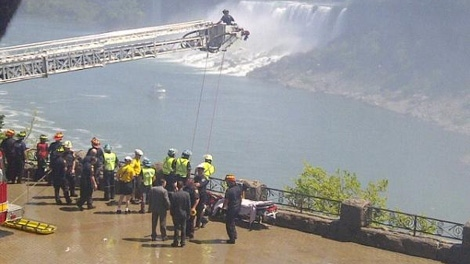 This image provided to CTVNews.ca purports to show a rescue operation underway at Niagara Falls on May 21, 2012.