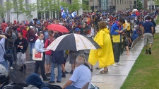 Hundreds of people gathered at Place des Festivals Tuesday afternoon to support the anti-tuition-hike movement (May 22, 2012)