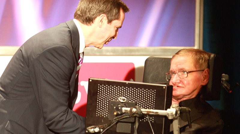 British theoretical physicist Prof. Stephen Hawking is greeted by Ontario Premier Dalton McGuinty for his lecture on his research, life and times the Perimeter Institute in Waterloo, Ontario, Sunday, June 20, 2010. (Dave Chidley / THE CANADIAN PRESS)