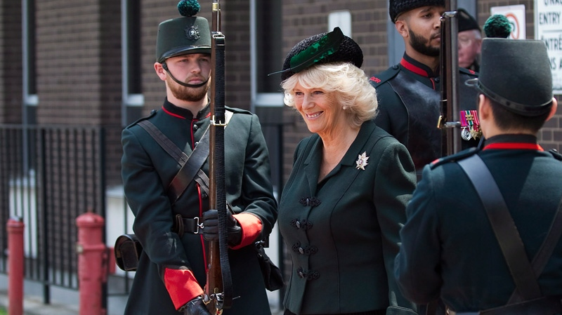 Camilla, the Duchess of Cornwall, leaves the Moss Park Armoury during her royal visit in Toronto on Tuesday, May 22, 2012. (Aaron Vincent Elkaim / THE CANADIAN PRESS)