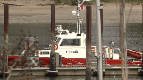 A Canadian Coast Guard vessel sits in dock at the Kitsilano base in Vancouver. May 22, 2012. (CTV)