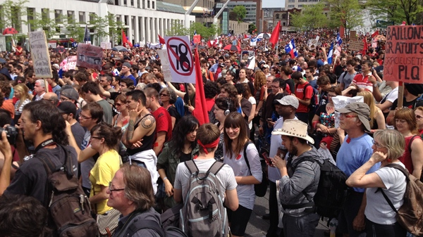 Thousands of people assembled at Place des Festivals, then at 3 p.m. started marching (CTV Montreal/Jean-Luc Boulch, May 22, 2012)