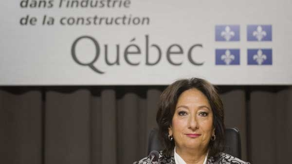 Justice France Charbonneau sits on the opening day of a Quebec inquiry looking into allegations of corruption in the province's construction industry in Montreal, Tuesday, May 22, 2012. THE CANADIAN PRESS/Graham Hughes