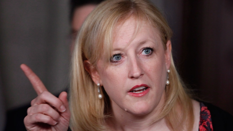 Labour Minister Lisa Raitt speaks at a news conference on Parliament Hill, Wednesday, May 23, 2012. (Fred Chartrand / THE CANADIAN PRESS)