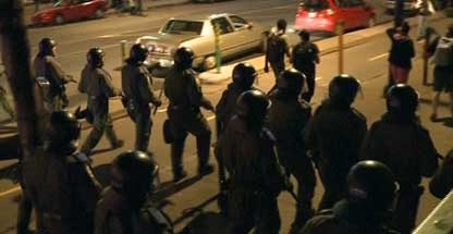 Six people appeared in court Wednesday following Tuesday night's demonstration in downtown Montreal.