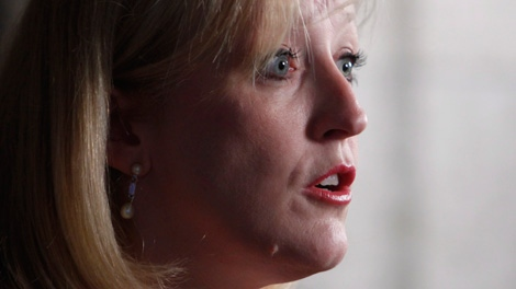 Labour Minister Lisa Raitt speaks at a news conference on Parliament Hill Wednesday, May 23, 2012 to respond to the ongoing labour dispute at Canadian Pacific Railway. (Fred Chartrand / THE CANADIAN PRESS)