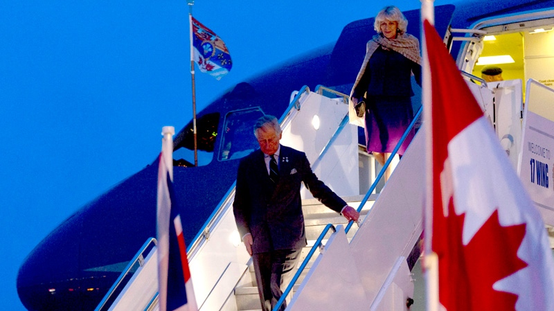 Prince Charles and his wife Camilla arrive in Regina, on Tuesday, May 22, 2012. (Paul Chiasson / THE CANADIAN PRESS)
