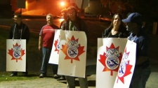 Canadian Pacific rail workers form a picket line after a strike was announced and CP has suspended its freight service across the country on Wednesday, May 23, 2012.