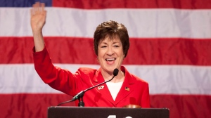 Sen. Susan Collins, R-Maine, acknowledges applause during her speech at the Maine Republican Convention at the Augusta Civic Center in Augusta, Maine, Saturday, May 5, 2012. (AP / Robert F. Bukaty)