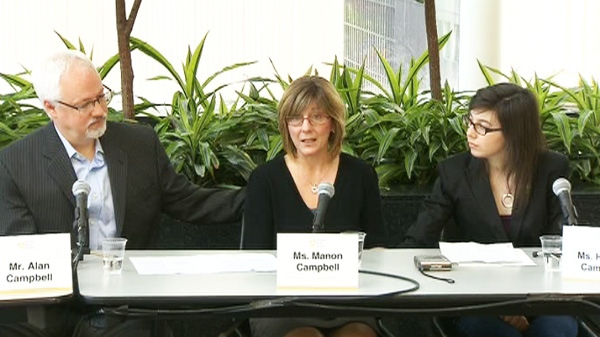 Helene Campbell, right, and her parents Manon and Alan, hold a press conference on her progress since her lung transplant in Toronto on Thursday, May 24, 2012.