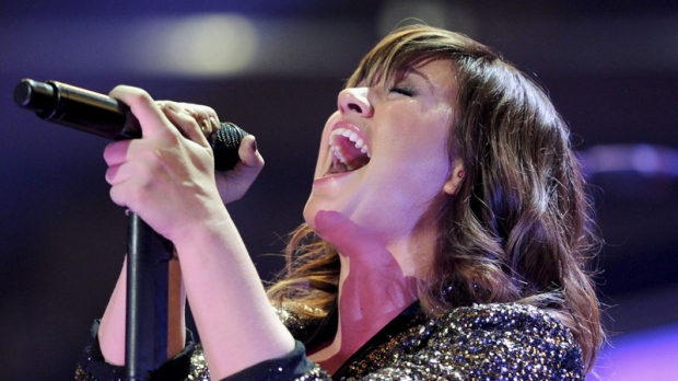 Singer Kelly Clarkson performs at Z100's Jingle Ball concert at Madison Square Garden on Friday, Dec. 9, 2011 in New York.