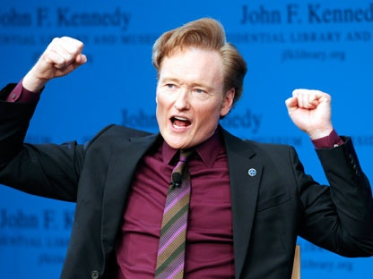 Conan O'Brien discusses his life and the art of comedy during a forum at the John F. Kennedy Presidential Library in Boston on Thursday, May 24, 2012. (AP Photo/Michael Dwyer)