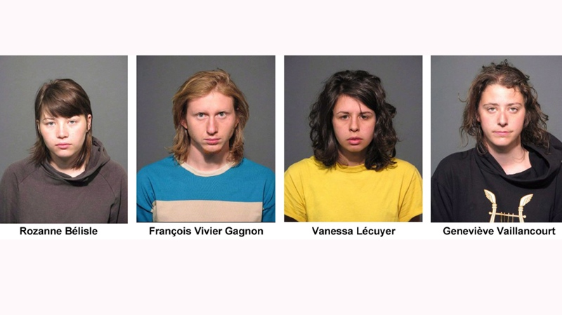 Roxanne Bélisle, François Vivier Gagnon, Vanessa Lécuyer, and Geneviéve Vaillancourt, are shown in police booking photos released on Monday May 14, 2012. The four are facing charges in the smoke-bomb attacks that paralyzed Montreal's subway. THE CANADIAN PRESS/HO