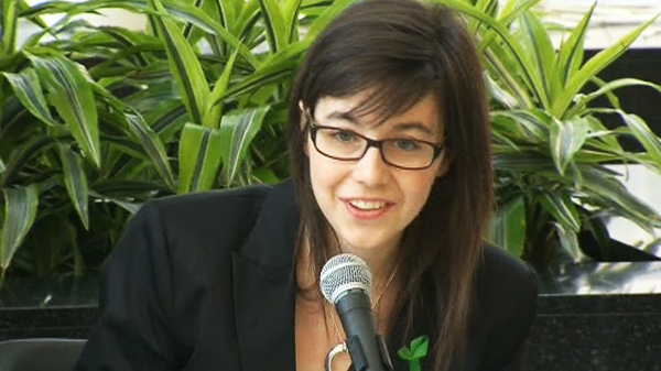 Helene Campbell holds a press conference on her progress since her lung transplant in Toronto on Thursday, May 24, 2012.