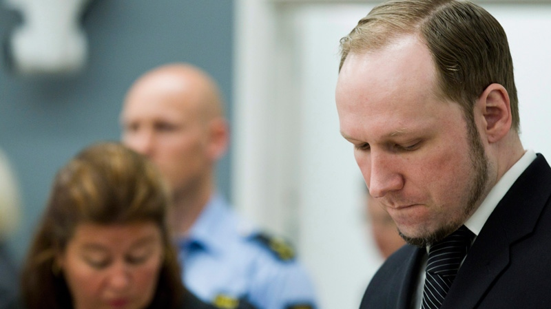 Anders Behring Breivik, right, pictured in the courtroom in Oslo, Wednesday, May 23, 2012. (AP / Berit Roald, NTB scanpix)