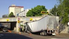 moncton, stuck truck, subway bridge